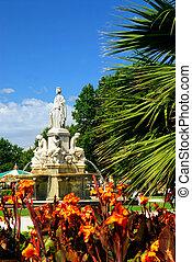 ciudad, parque,  Nimes, francia