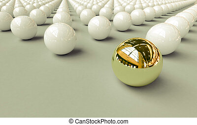 Stand out - The set of balls on a light background, one...