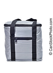 cooler bag - a gray cooler bag on a white background