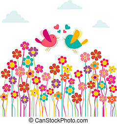 Cute social birds love - Communication love concept: birds...