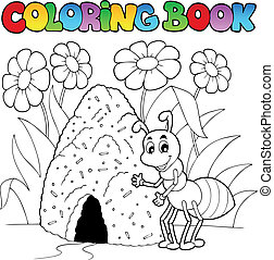 Coloring book ant near anthill - vector illustration