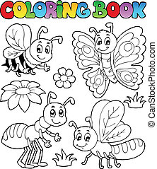 Coloring book cute bugs 2 - vector illustration