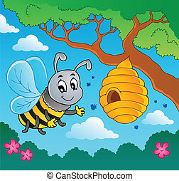 Cartoon bee with hive - vector illustration