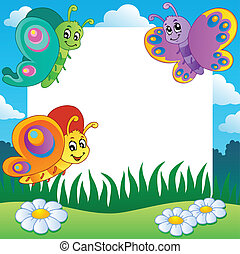 Frame with butterflies theme 1 - vector illustration