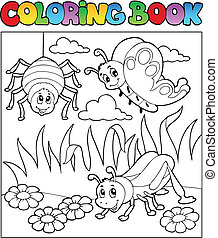 Coloring book bugs theme image 1 - vector illustration