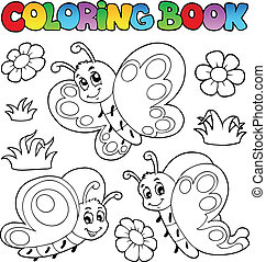 Coloring book with butterflies 2 - vector illustration.