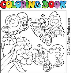 Coloring book with butterflies 3 - vector illustration.
