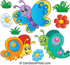 Cute butterflies collection 3 - vector illustration.