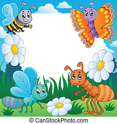 Frame with bugs theme 3 - vector illustration