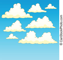 Cloudy sky background 5 - vector illustration.