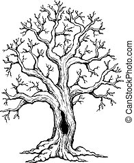Tree theme drawing 1 - vector illustration