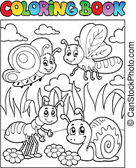 Coloring book bugs theme image 3 - vector illustration.