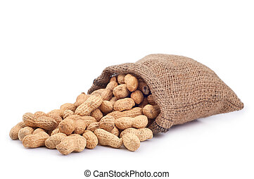 Peanut in a bag on a white background