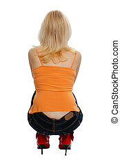 squatting woman from behind on white background