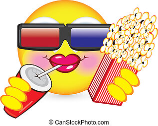 Cheerful smiley eating popcorn Illustration for design on...