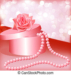 rose and box with pearl necklace - illustration rose and box...