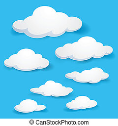 Clouds - Cartoon clouds. Illustration on blue background for...