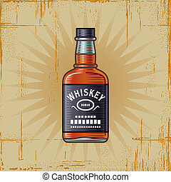 Retro Whiskey Bottle - Retro whiskey bottle in woodcut...