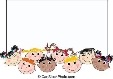 blandad, etnisk, barn