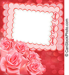 holiday frame for photo with rose - illustration holiday...
