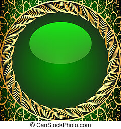 background frame green with gold(en) pattern