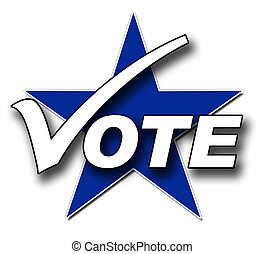 Vote, tick and star - A Voting illustration in blue and...