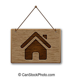 Wooden home icon - Wooden vector home page icons