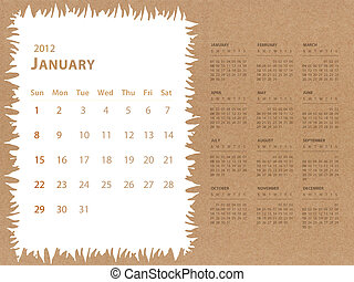 January of 2012 calendar with recycle paper background