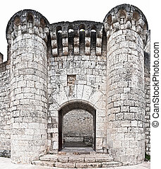 Door in the castle of Pañafiel in Valladolid, Spain -...