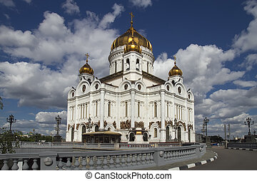 Christ the Savior Cathedral on against cloudy sky