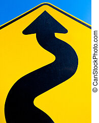 Wavy arrow concept of winding road to success