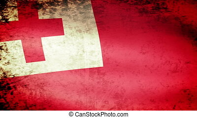 Tonga Flag Waving, grunge look