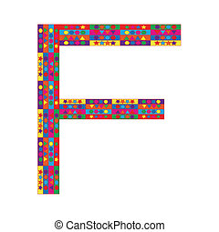 Letter F on white background
