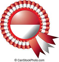 Indonesia rosette flag - Indonesia detailed silk rosette...