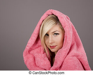Blonde with Pink Towel Over Head