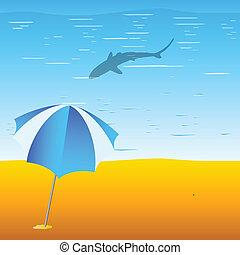 beach and shark illustration