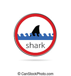 sign of danger from sharks illustration on white