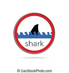 sign of danger from sharks illustration on white