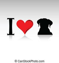 sign i love dog vector illustration