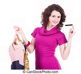 shopping woman - Happy young shopping woman with credit card...