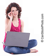 woman in glasses with computer PC