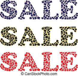 Sale sign for clothing stores - Word SALE with man and woman...