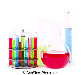 Glass laboratory equipment for science research on white...