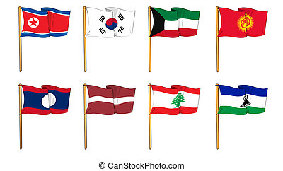 Hand-drawn Flags of the World - letter K & L