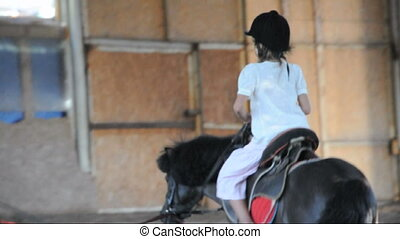 Child riding a pony