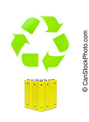 batteries with recycling symbol - Yellow batteries with...