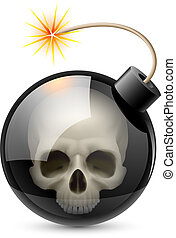 Bomb with Skull Illustration on white background for design