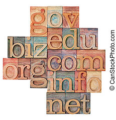 internet domains in wood type - collage of popular internet...