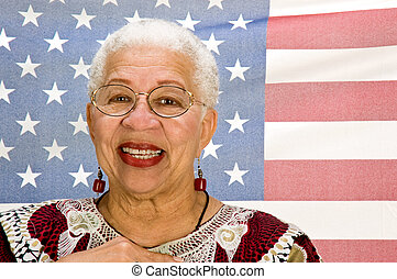Let Freedom Ring - A proud black American woman standing in...
