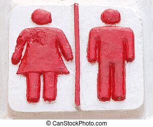 サイン, 女性, 男性,  restroom